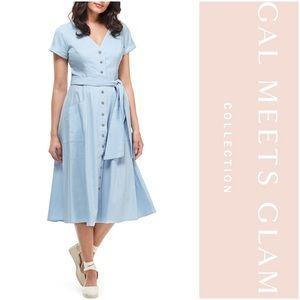 Gal Meets Glam Vanessa Linen Blend Midi Dress